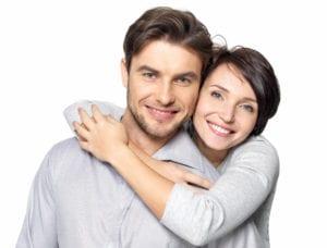 Closeup portrait of beautiful happy couple